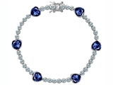 Original Star K™ Classic Heart Shape 7mm Created Sapphire Tennis Bracelet style: 304898