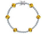 Original Star K™ Classic Cushion Cut 7mm Genuine Citrine Tennis Bracelet style: 304902