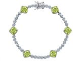 Original Star K™ Classic Cushion Cut 7mm Genuine Peridot Tennis Bracelet