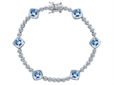 Original Star K™ Classic Cushion Cut 7mm Simulated Aquamarine Tennis Bracelet
