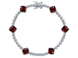 Original Star K Classic Cushion Cut 7mm Genuine Garnet Tennis Bracelet