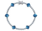 Original Star K Classic Cushion Cut 7mm Simulated Blue Topaz Tennis Bracelet