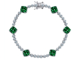 Original Star K Classic Cushion Cut 7mm Simulated Emerald Tennis Bracelet