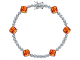Original Star K™ Classic Cushion Cut 7mm Simulated Mexican Fire Opal Tennis Bracelet