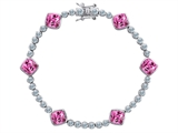 Original Star K Classic Cushion Cut 7mm Created Pink Sapphire Tennis Bracelet