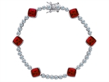 Original Star K Classic Cushion Cut 7mm Created Ruby Tennis Bracelet