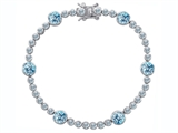 Original Star K Classic Round 6mm Simulated Aquamarine Tennis Bracelet