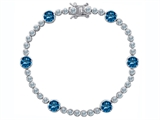 Original Star K™ Classic Round 6mm Simulated Blue Topaz Tennis Bracelet style: 304918