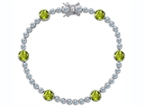 Original Star K™ Classic Round 6mm Genuine Peridot Tennis Bracelet
