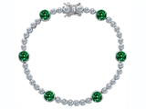 Original Star K Classic Round 6mm Simulated Green Tennis Bracelet