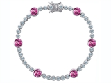 Original Star K Classic Round 6mm Created Pink Sapphire Tennis Bracelet