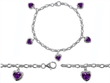 Original Star K High End Tennis Charm Bracelet With 5pcs 7mm Heart Shape Genuine Amethyst