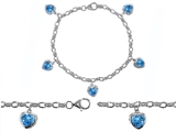 Original Star K™ High End Tennis Charm Bracelet With 5pcs 7mm Heart Shape Simulated Blue Topaz style: 304933