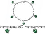 Original Star K™ High End Tennis Charm Bracelet With 5pcs 7mm Heart Shape Simulated Emerald style: 304935