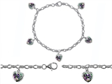 Original Star K™ High End Tennis Charm Bracelet With 5pcs 7mm Heart Shape Mystic Topaz
