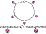 Original Star K High End Tennis Charm Bracelet With 5pcs 7mm Heart Shape Created Pink Sapphire