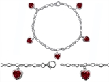 Original Star K High End Tennis Charm Bracelet With 5pcs 7mm Heart Shape Created Ruby