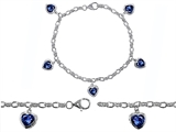 Original Star K™ High End Tennis Charm Bracelet With 5pcs 7mm Heart Shape Created Sapphire