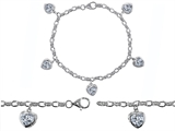 Original Star K High End Tennis Charm Bracelet With 5pcs 7mm Genuine Heart White Topaz