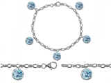 Original Star K High End Tennis Charm Bracelet With 5pcs 7mm Round Simulated Aquamarine