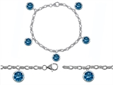 Original Star K™ High End Tennis Charm Bracelet With 5pcs 7mm Round Simulated Blue Topaz