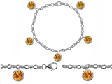 Original Star K™ High End Tennis Charm Bracelet With 5pcs 7mm Genuine Round Citrine