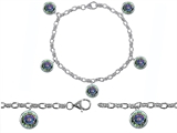 Original Star K High End Tennis Charm Bracelet With 5pcs 7mm Round Mystic Topaz