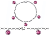 Original Star K High End Tennis Charm Bracelet With 5pcs 7mm Round Created Pink Sapphire