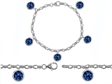 Original Star K™ High End Tennis Charm Bracelet With 5pcs 7mm Round Lab Created Sapphire