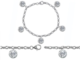 Original Star K High End Tennis Charm Bracelet With 5pcs 7mm Genuine Round White Topaz