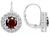 Original Star K™ Lever Back Dangling Earrings With 6mm Round Genuine Garnet