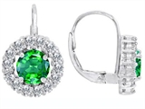 Original Star K™ Lever Back Dangling Earrings With 6mm Round Simulated Emerald
