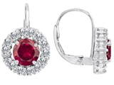 Original Star K™ Lever Back Dangling Earrings With 6mm Round Created Ruby