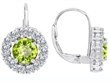 Original Star K Lever Back Dangling Earrings With 6mm Round Genuine Peridot