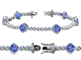 Original Star K High End Tennis Bracelet With 6pcs 7mm Cushion Cut Simulated Tanzanite
