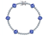 Original Star K Classic Cushion Cut 7mm Simulated Tanzanite Tennis Bracelet