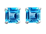 Original Star K Genuine Square 7mm Blue Topaz Earring Studs