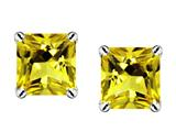 Original Star K Genuine Square 7mm Citrine Earrings Studs