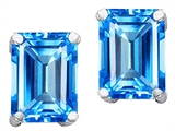 Original Star K Genuine 8x6mm Emerald Cut Blue Topaz Earrings