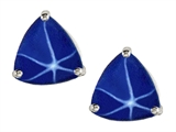 Original Star K Trillion 7mm Created Star Sapphire Earring Studs