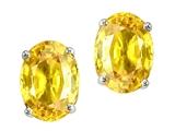Tommaso Design™ Oval 7x5mm Genuine Yellow Sapphire Earrings Studs style: 305011