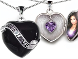 Original Star K™ True Love Black Enamel Locket With 7mm Heart Genuine Amethyst