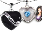 Original Star K True Love Black Enamel Locket With 7mm Heart Blue Topaz Surprise