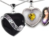 Original Star K True Love Black Enamel Locket With 7mm Heart Citrine Surprise
