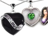 Original Star K True Love Black Enamel Locket With 7mm Heart Simulated Emerald Surprise