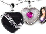 Star K™ True Love Black Enamel Locket Necklace With 7mm Heart Created Pink Sapphire Surprise style: 305031