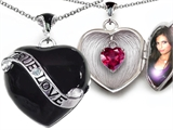 Original Star K True Love Black Enamel Locket With 7mm Heart Created Ruby Surprise
