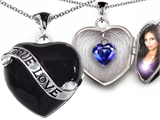 Original Star K™True Love Black Enamel Locket With 7mm Heart Created Sapphire Surprise