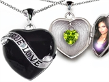Original Star K™ True Love Black Enamel Locket With 7mm Heart Peridot Surprise