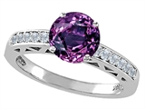 Tommaso Design Simulated Alexandrite and Diamond Solitaire Engagement Ring
